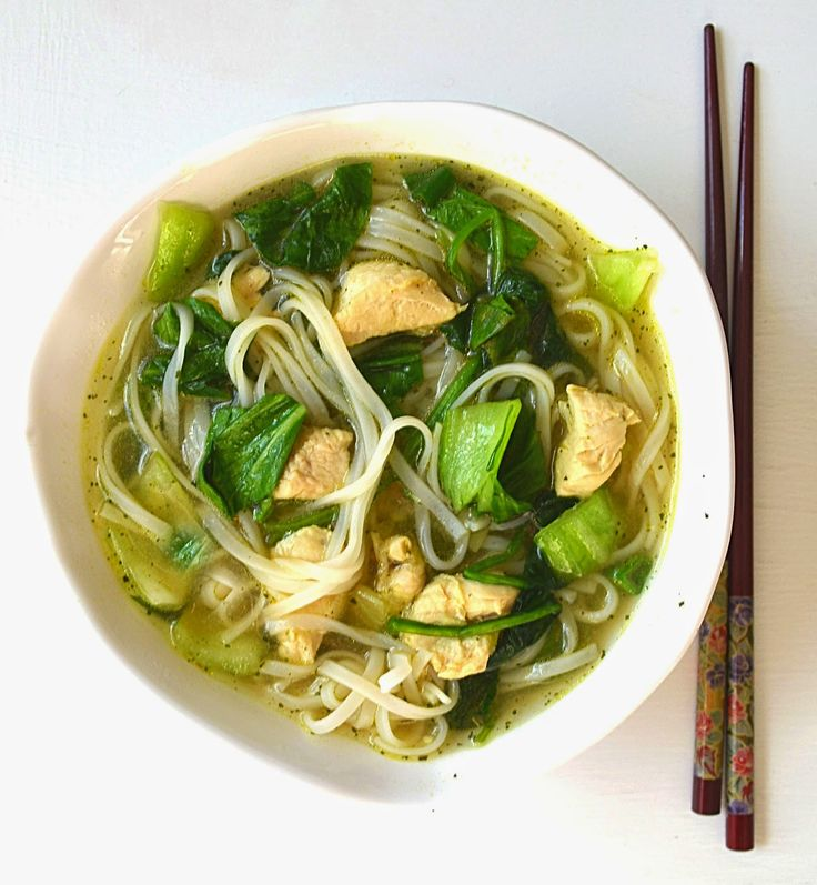 Asian Noodle Soup, bok choy, green onions, and spinach - perfect for spring farmer's market