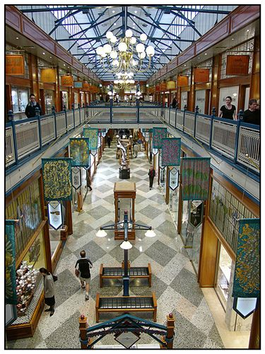 Brisbane Arcade by Martin~, via Flickr   It's a very small strip in the CBD. Some people don't even notice it from the outside. But the interior is kind of like Sydney's Queen Victoria Building.