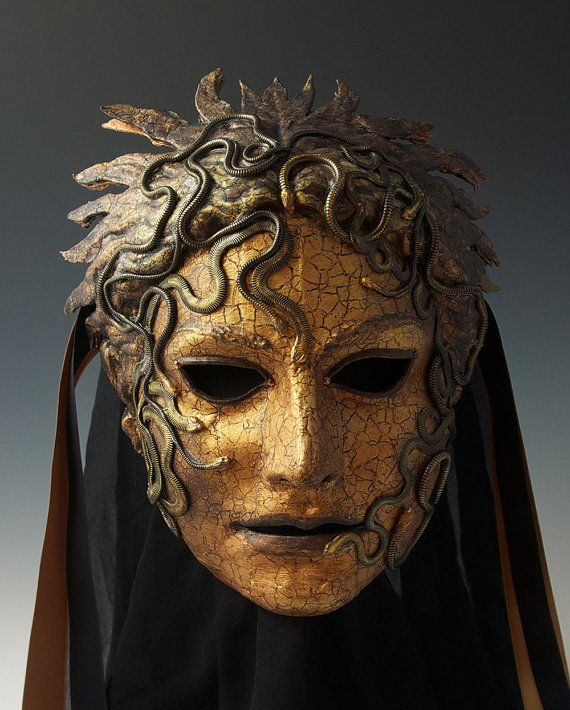 MADE-TO-ORDER: please convo me for approximate lead time.  Medusa is another in the new series of faux bronze/metalic masks.  Remember that full