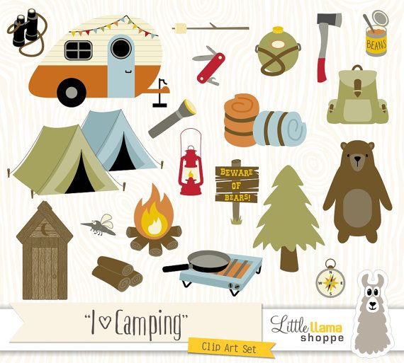 Camping Clipart, Backpacking Clip Art, Camp Clipart, Hiking, Outdoors, Campfire, Summer Camp, Commercial Use
