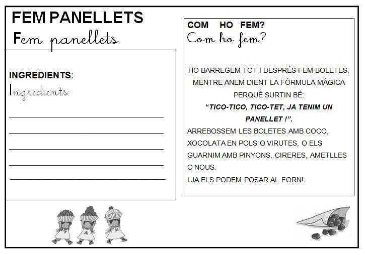 Fichas escolares para otoño: receta panellets