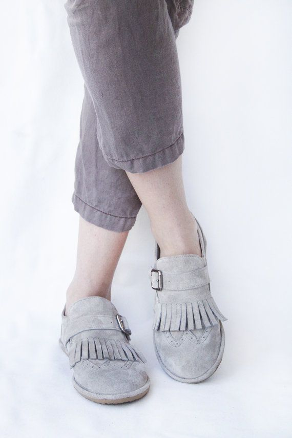 Fringed Frost Suede Leather Women's Brogue by TheDrifterLeather. So darling!