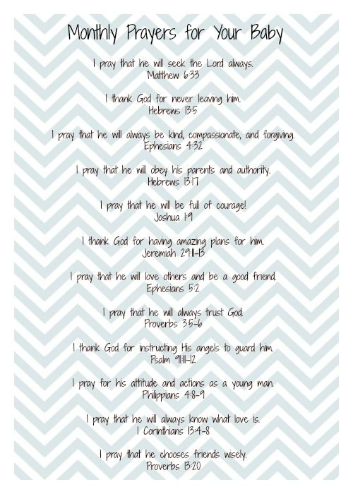 Twelve prayers to pray over your baby. One for each month of the baby's first…