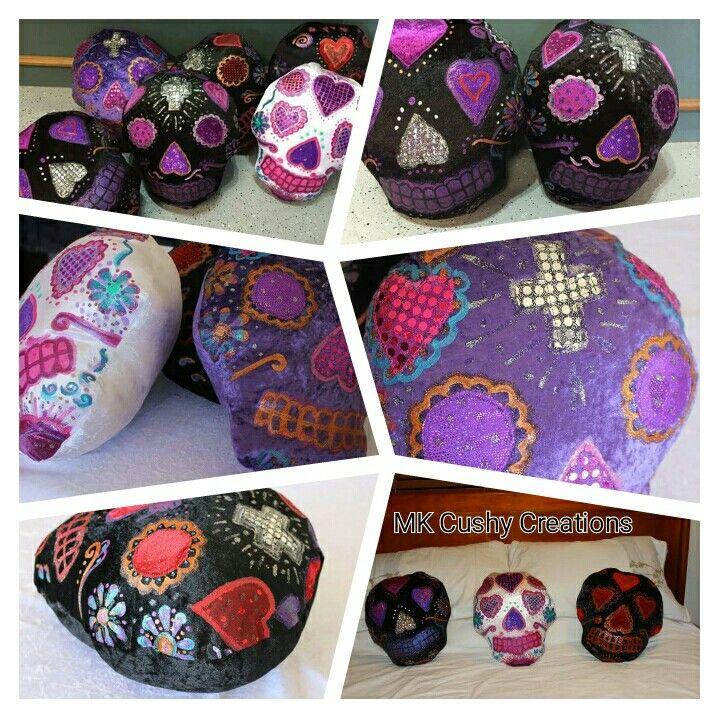 Sugarskull Cushion by MKCushyCreations #skullart #artsy #mkcushycreation #mkcushy #sugarskullcushions #skullcushion #decoratedskull #skullpillow #sugarskullart