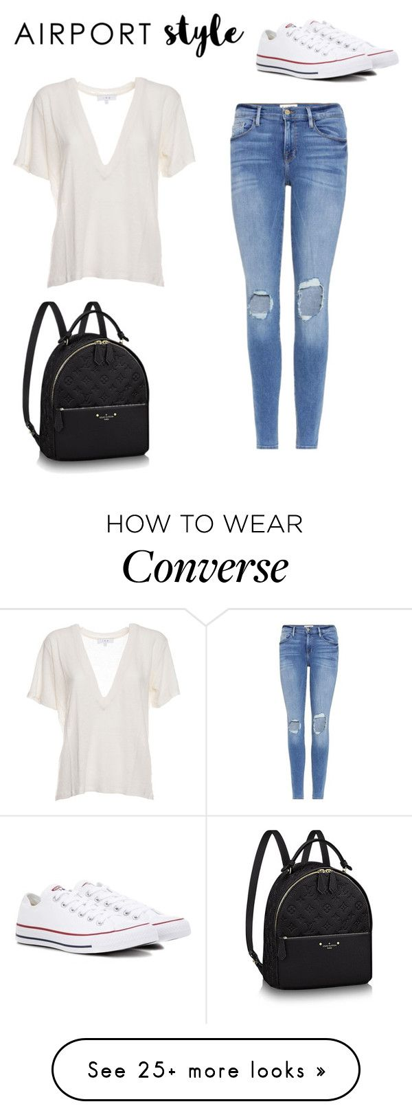"""Untitled #172"" by thegoldenhairedgirl on Polyvore featuring Frame, IRO, Converse and airportstyle"