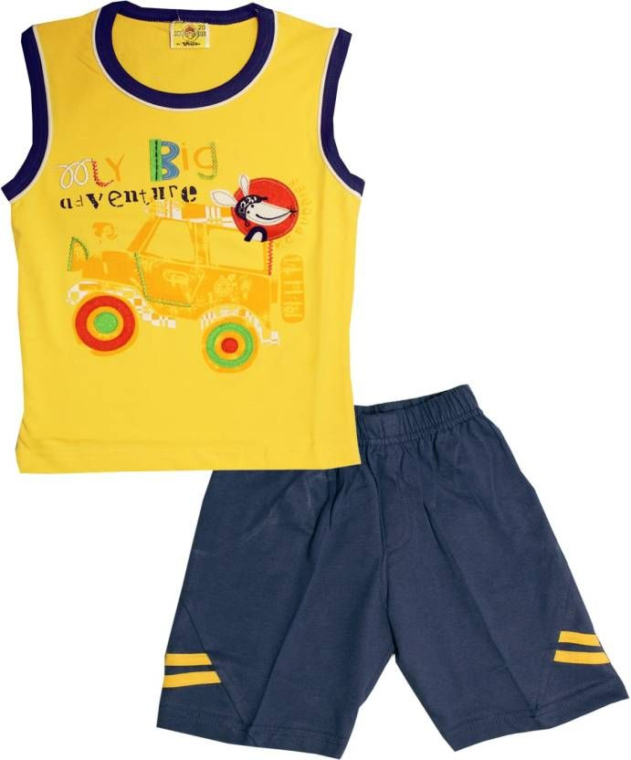 #Kid's Care #Boys #Casual #T-shirt #Shorts  (#Yellow)