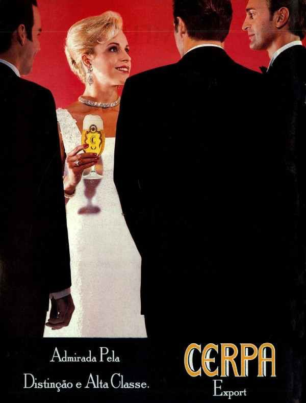 Propaganda da Cerveja Cerpa em 1996 que representa distinção e alta classe.
