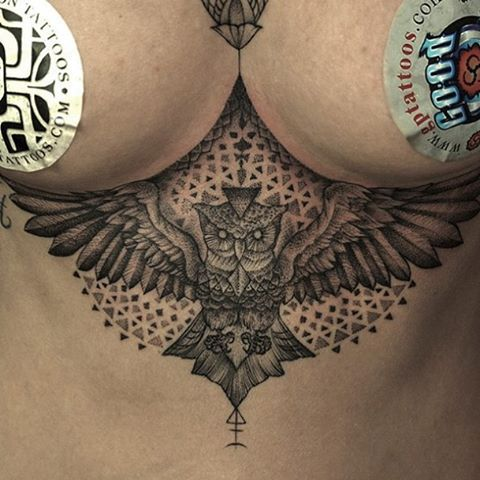 Love this perfect owl sternum tattoo, amazing work by @dijonmustard_