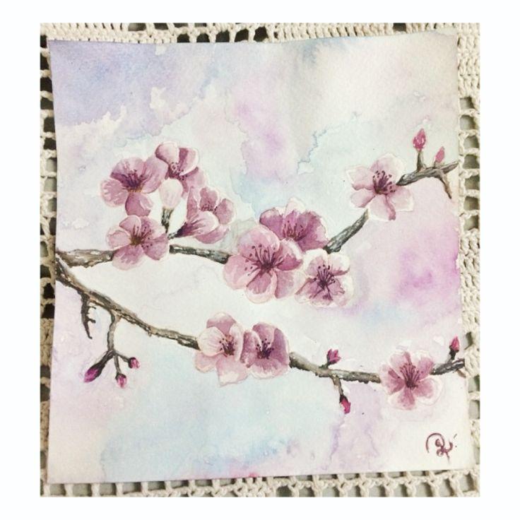 Watercolor paint / acuarela / Constanza Grollmus / Flores de Cerezo