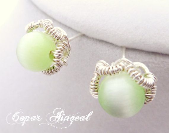 Green Stud Earrings  Silver Toned Wire Wrapped by CoparAingeal, $14.00
