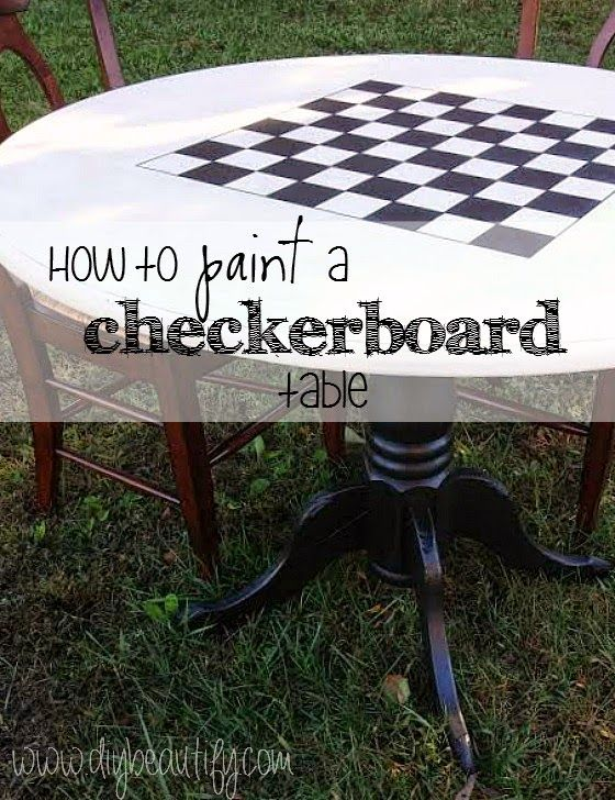 DIY checkerboard table by DIY Beautify  ~ shared at DIY Sunday Showcase Link Party on VMG206 (Saturdays at 5pm CST). #diyshowcase