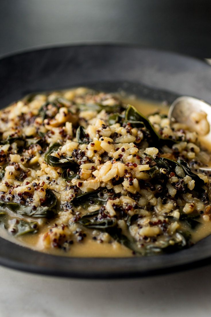 NYT Cooking: You may be surprised by the quantity of slivered kale that goes into this risotto. It will cook down as you stir and simmer the rice. Get into the habit of cooking and freezing grains ahead so you can make multigrain risottos like this without having to take the extra step of cooking the quinoa — though it only takes 15 to 20 minutes to cook this grain. Note%...