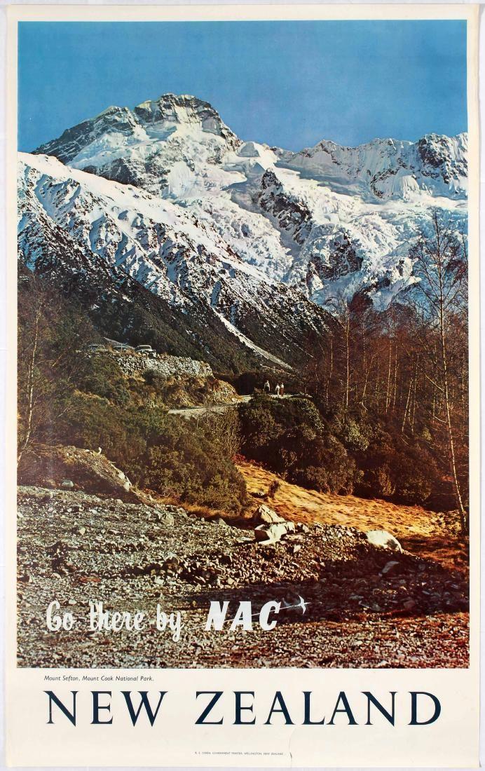 Vintage Travel Poster - New Zealand - Mount Sefton, Mount Cook  - New Zealand National Airways Corporation - 1960's.