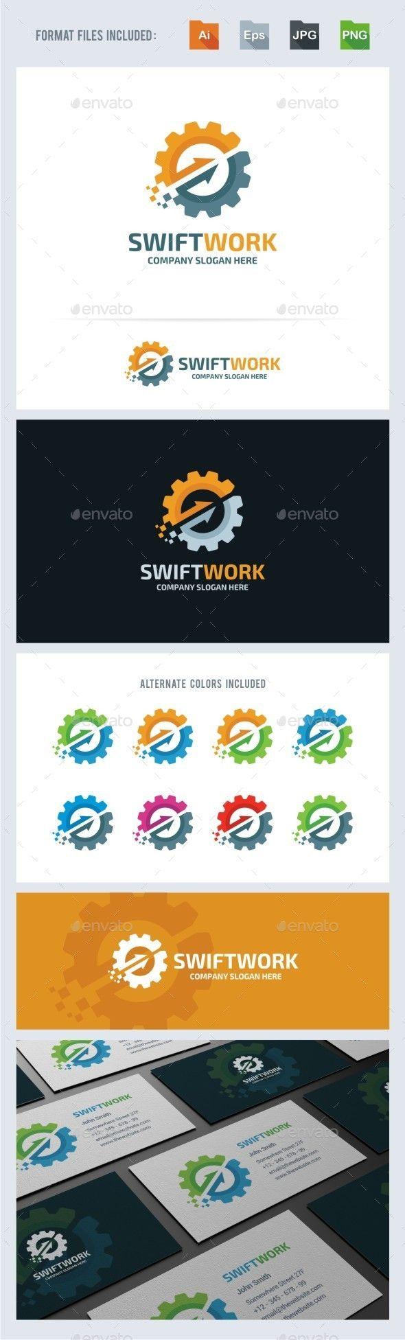 Swift Work Gear  - Logo Design Template Vector #logotype Download it here: http://graphicriver.net/item/swift-work-gear-logo-template/13949342?s_rank=1144?ref=nesto