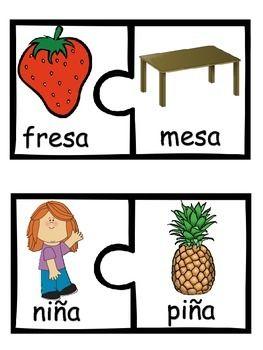 FREE RHYMING PUZZLES IN SPANISH - TeachersPayTeachers.com