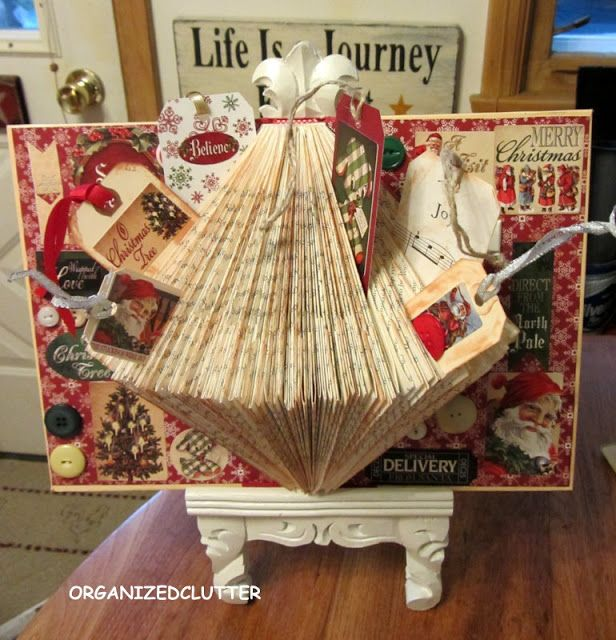 A folded book page Christmas Craft