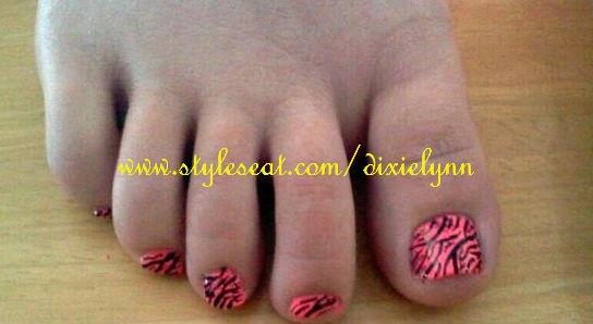 Hot Pink Zebra Pedicure Art (:
