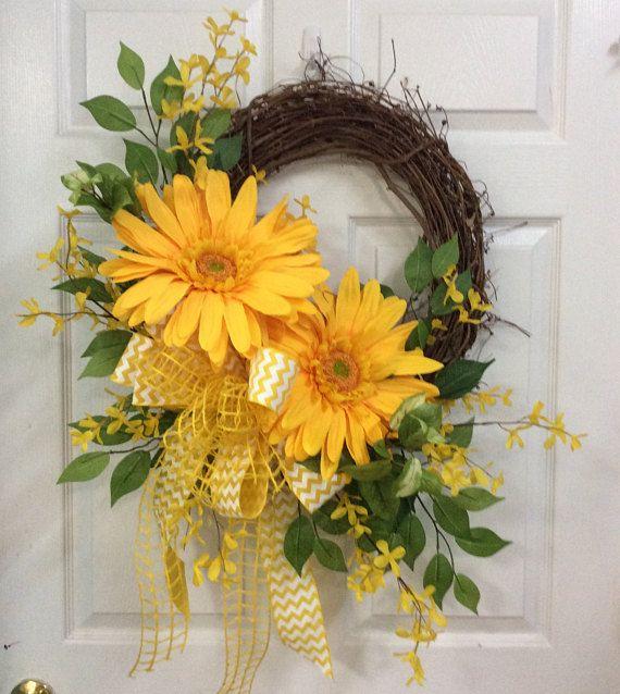 Yellow door wreath front door wreath in yellow Mothers day