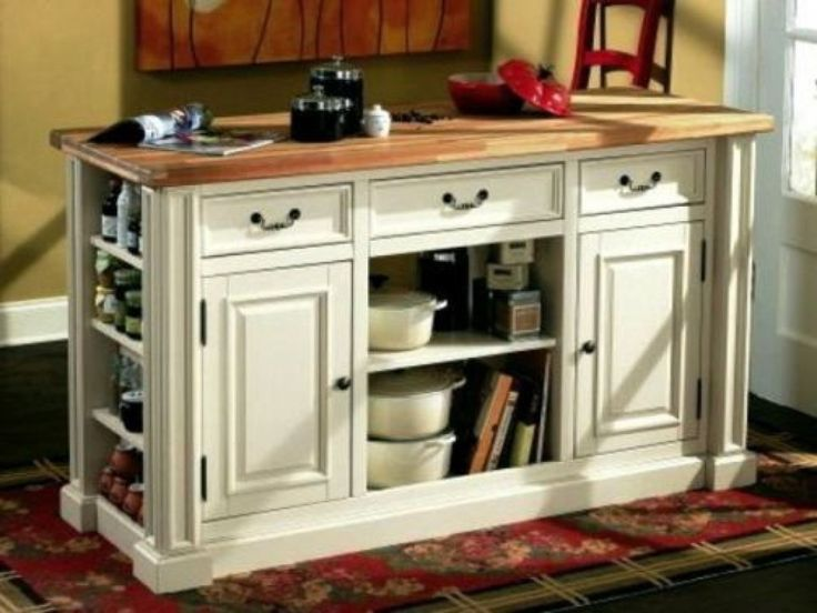 Alluring Small Kitchen Island Inspiration Of The Feature Antique White Polished Wood With Open Storage And Hidden Storage Doors Plus Drawers Also Rectangular Brown Oak Countertop, Ravishing Inspiration Of Storage Cabinets For Kitchen Remodeling Ideas: Interior, Kitchen