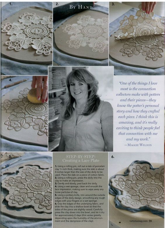 Victoria Magazine : Lace Pottery Ornamental Bowls INSTRUCTIONS