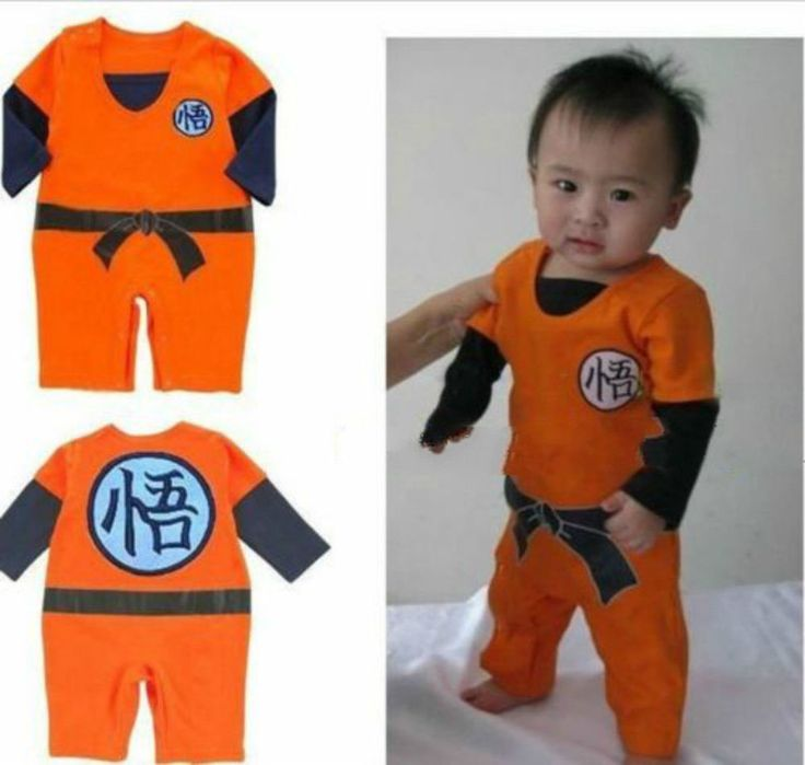 LONG SLEEVES* Dragonball Z Son Goku KungFu Baby Bodysuit Party Costume Dress AA #Unbranded #Robe