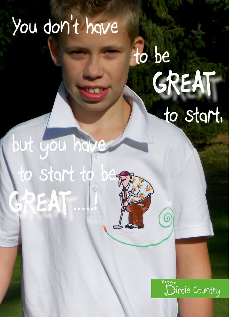 My son Simon is wearing polo shirt Forever young, forever and golfer! Each piece is hand painted. You can find it on: www.birdiecountry.com
