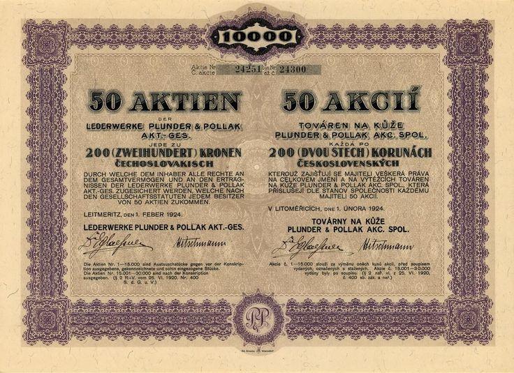 Továrna na kůže Plunder & Pollak, akc. spol. (Lederewrke Plunder & Pollak AG.). Akcie na 50x 200 Kč (10 000 Kč). Litoměřice, 1924.
