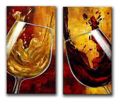 Wine Glass Cheers Still Life l Painting Wall Art-Modern Canvas Art Wall Decor with Stretched Frame Ready to Hang