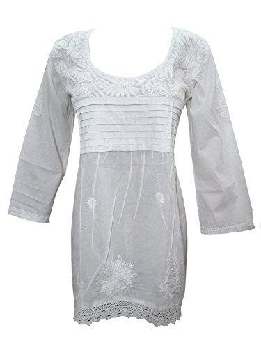 Mogul Women's White Floral Hand-Embroidered Cotton Pleate... https://www.amazon.ca/dp/B073W6W48F/ref=cm_sw_r_pi_dp_x_8opRzbT8Y4H2N #TUNIC #BOHO #FASHION #HIPPIE #SALE #WHITE #GIFT #BOHOHIPPIE #GIFTFORHER