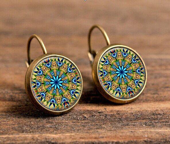 Gratis verzending yoga oorbellen een paar henna mandala oorbel op symbool zen dazzling originele art oorbellen sieraden voor vrouwen c-e 201