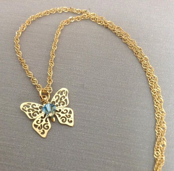 Butterfly  14k gold filled  pendant with by OritWhiteLight on Etsy