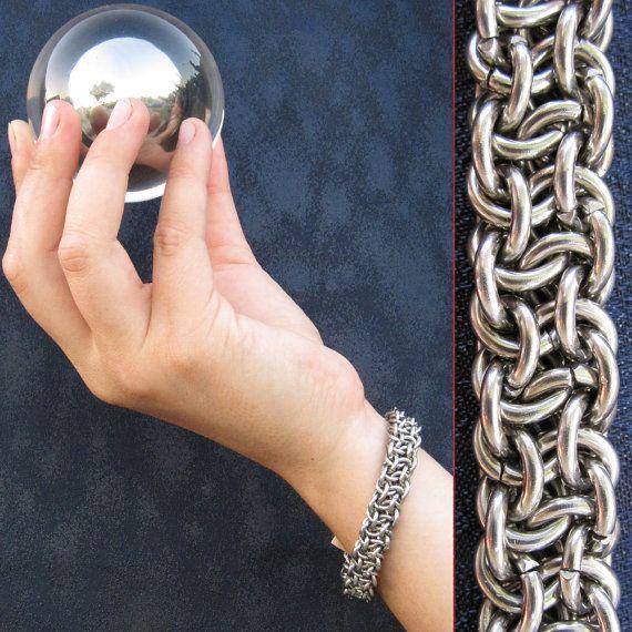 Basket Weave Chainmaille Tutorial : Bracelet steel vipera berus basketweave stainless