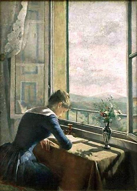 Asta Nørregaard (1853-1933) Lesende kvinne ved apent vindu (1889)