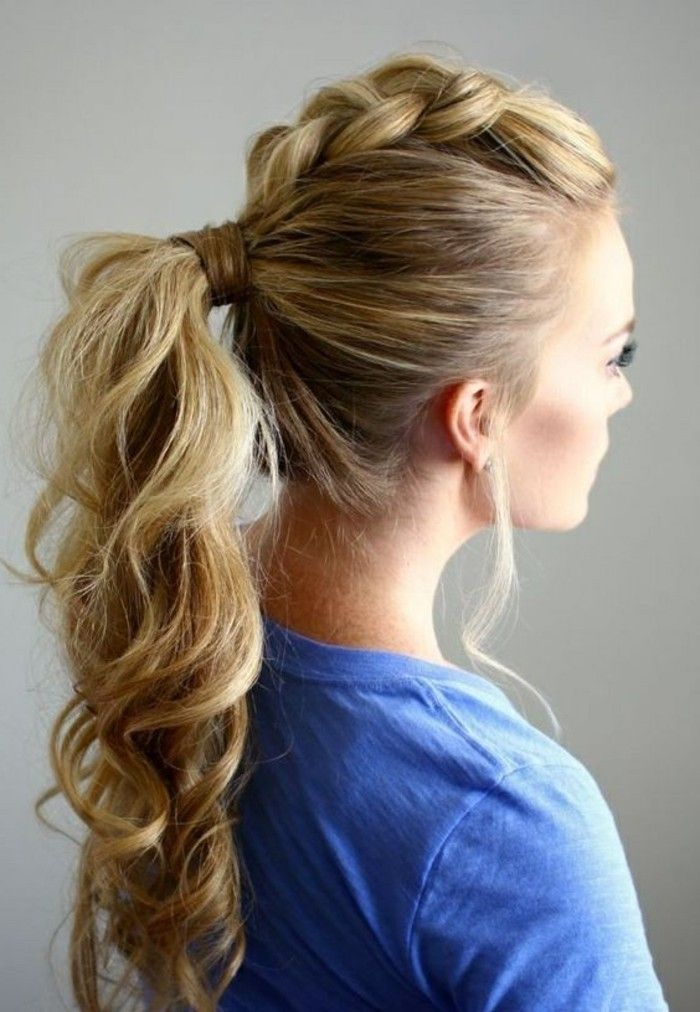 Long Wavy High Ponytail Blonde Hair With Highlights Prom Hairstyles For Short Hair Woman Coiffure Coiffure Mariage Cheveux Long Coiffures Queues De Cheval