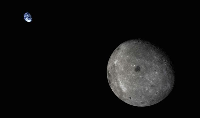 Earth and the Dark Side of the Moon, in a Single Frame fro0m China's Chang'e 5 test vehicle. 10/14