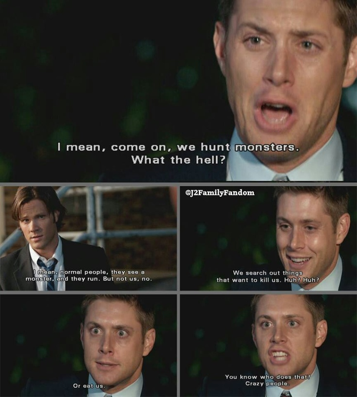That awkward moment when Dean figures out what we all knew in Episode 1.