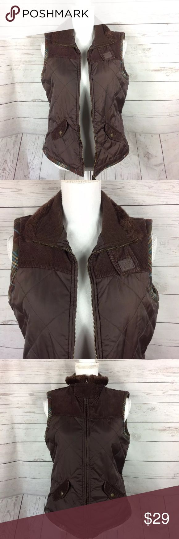 "CAbi Quilted Brown Zip Up Vest Puffer Vest Check out my other items for more sizes and styles!  Measurements are laying flat Underarm to underarm 19"" Length 24"" from shoulder to hem CAbi Jackets & Coats Vests"
