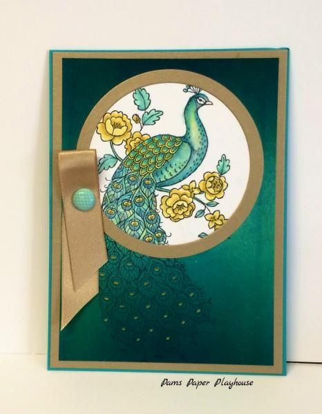 handmade card: Perfect Peacock Spotlight by Phaima ... spotlight technique is perfect for this image .. luv the brushed gold paper and deep emerald greens of the background ... beautiful elegance!@ ... Stampin'Up!
