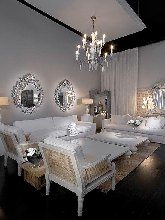 mirrors ~ white interior ~ chandelier ~ love