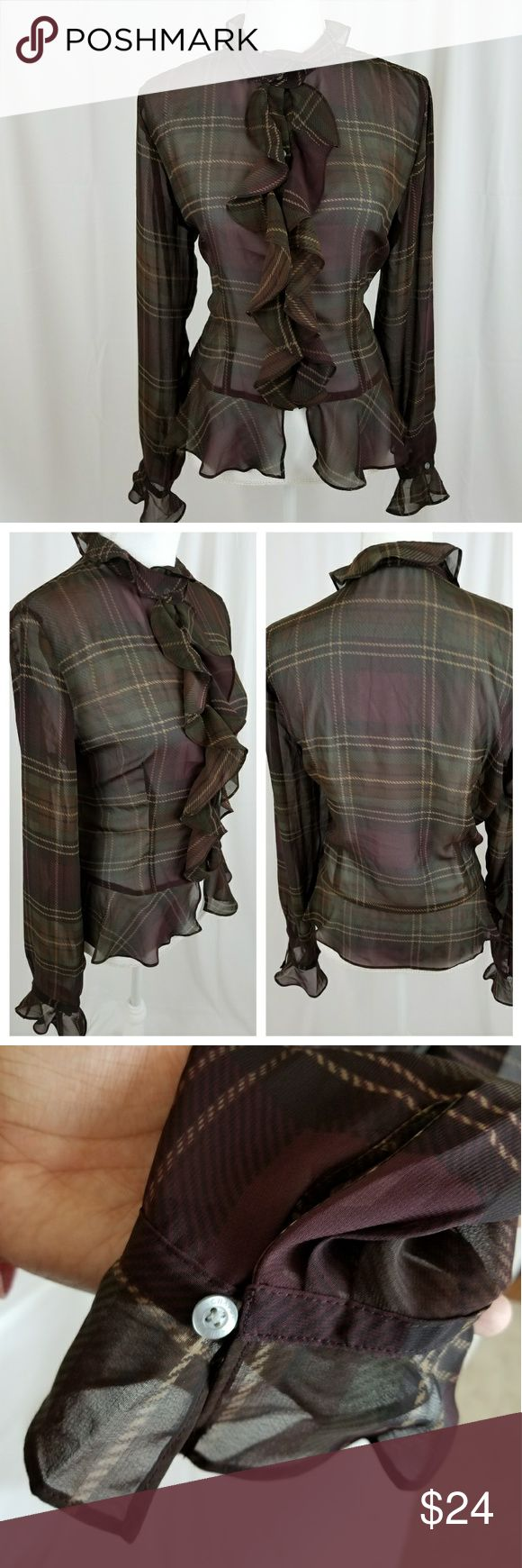 Chaps Ralph Lauren ruffle blouse Plaid Chaps Ralph Lauren ruffle blouse Plaid  Beautiful Ruffle Front Top  SIZE L  A-17 Chaps Tops Button Down Shirts
