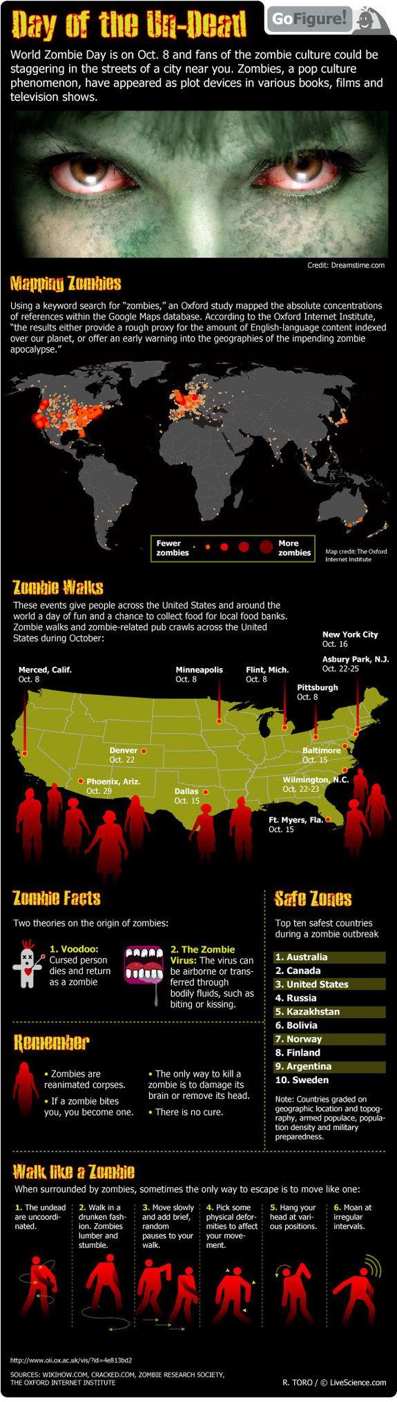 Map Of Usa Zombies%0A Are you ready for World Zombie Day  Check your zombie knowledge with  today u    s GoFigure infographic