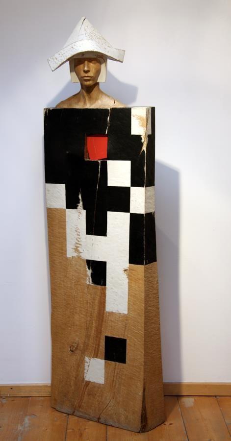 jerzy fober, znieczulenie, 1988, drewno polichromowane