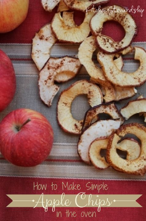 Apple Chips :: via Kitchen Stewardship Make real food baked apple chips even if you do not have a dehydrator. Apple chips in the oven are simple, delicious, and good for you!