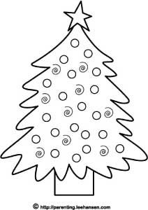 Simple Decorated Christmas Tree Coloring Page