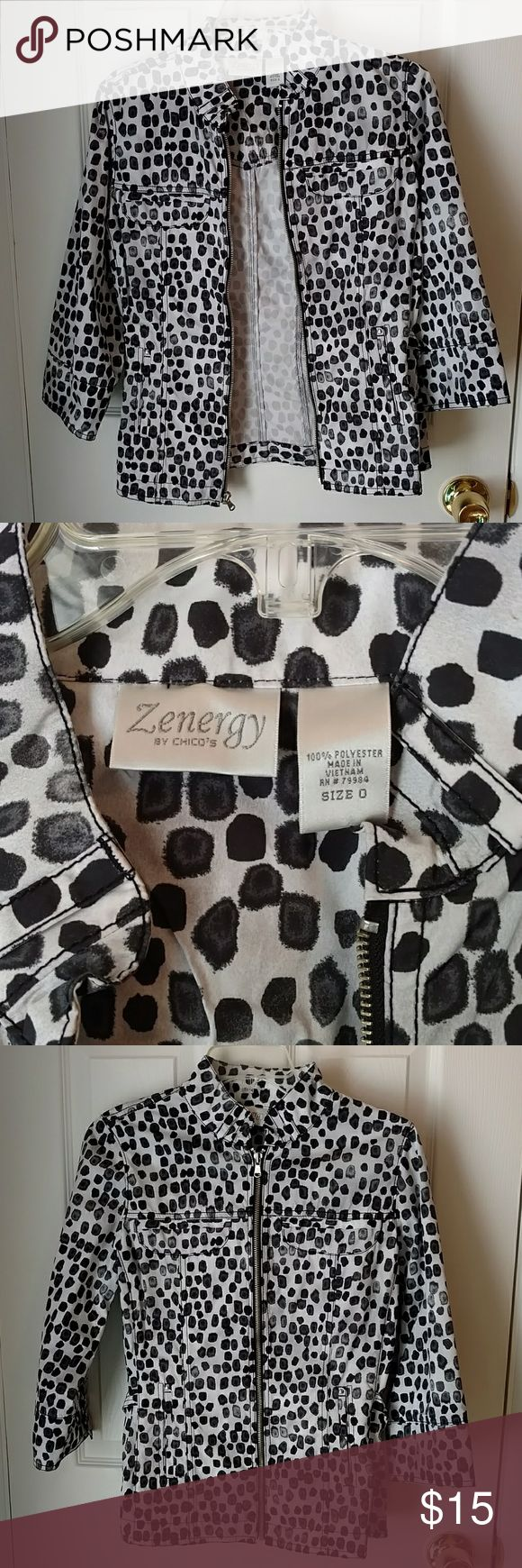 """Chico's Zenergy Zip Front Jacket NWOT Size 0 Adorable, unlined jacket, fabric feels like a rain slicker. 3/4 sleeve. Length 22"""" Machine washable. Removed tags, never wore Chico's Jackets & Coats"""