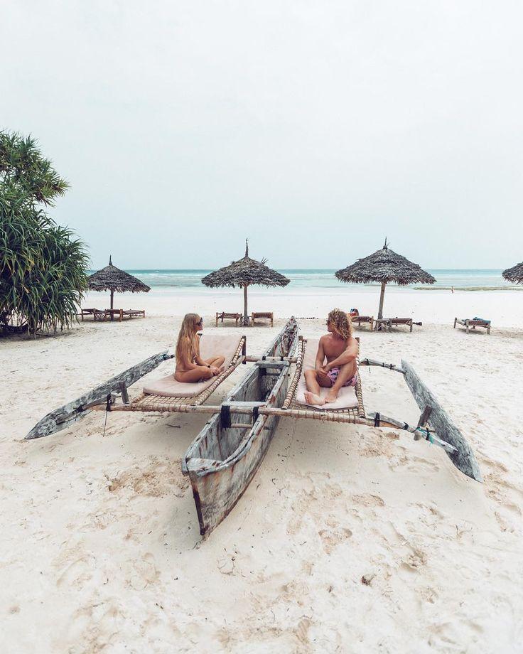 Catamaran boat on the beach in Zanzibar, Tanzania