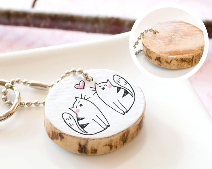 Cat Wooden Keychain Couple Cute Drawing Love by HappyCatPrints, $20.00