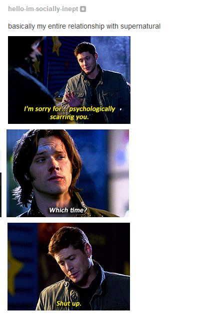 A fan's relationship with Supernatural.