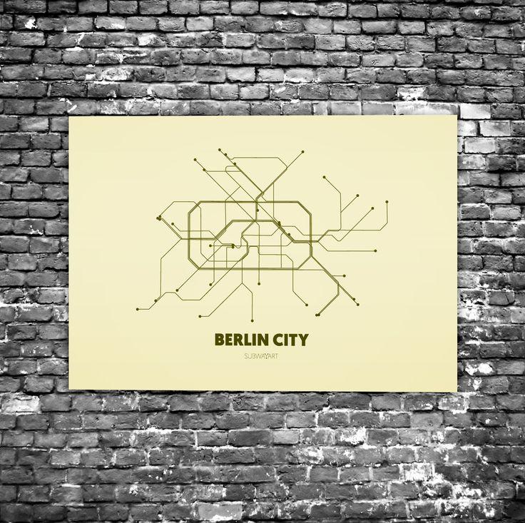 Berlin City C7 - Acrylic Glass Art Subway Maps (U-Bahn-Karte, Acrylglas, Plexiglas)