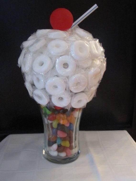 Ice Cream Soda Candy Centerpiece Fifties Party Ideas
